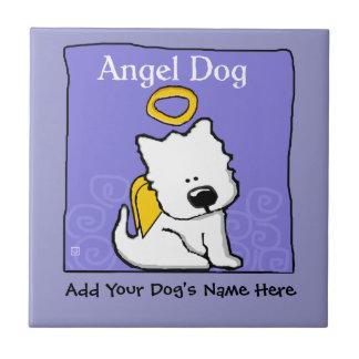 Sweet Westie Dog Angel Memorial Tiles