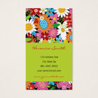 Sweet Whimsical Spring Flowers Colorful Garden Business Card
