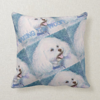 SWEET WHITE BICHON FRISE THROW PILLOW