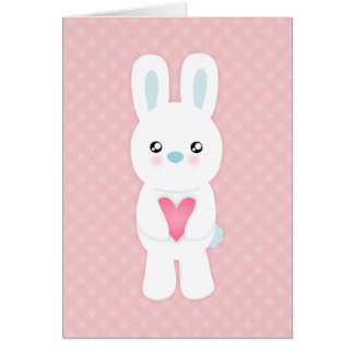 Sweet White Bunny Valentine Greeting Card