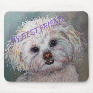 SWEET WHITE MALTESE YORKIE MIX MOUSE PAD