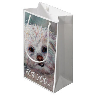 SWEET WHITE MALTESE YORKIE MIX SMALL GIFT BAG