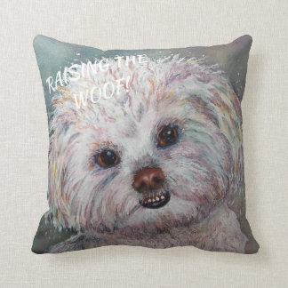 SWEET WHITE MALTESE YORKIE MIX THROW PILLOW