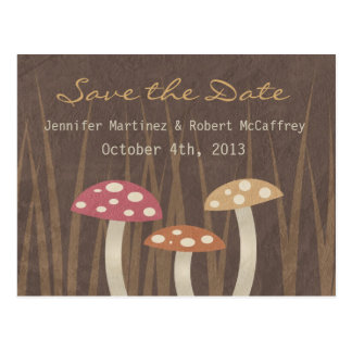 Sweet Wild Mushroom Wedding Save the Date Postcard