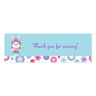 Sweet Winter Bunny Snowflake Favor Gift Tags Mini Business Card