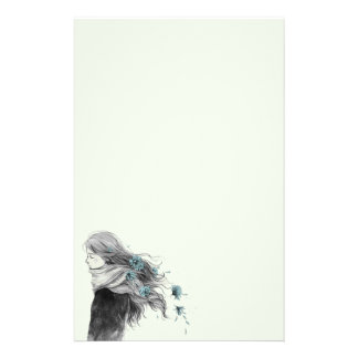 Sweet Winter Girl with Flowers in her Hair Stationery