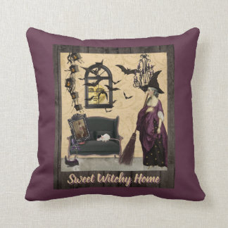 Sweet Witchy Home Purple Throw Pillow