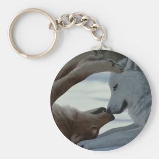 Sweet wolf couple keychain