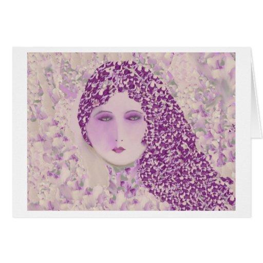 Sweet Woman on Lavender Blank Greeting Card