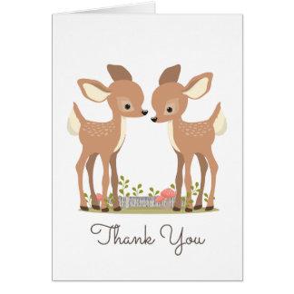 Sweet Woodland Deer Twin Baby Gift Thank You Card