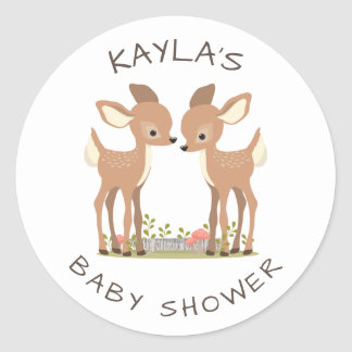 Sweet Woodland Deer Twin Baby Shower Favor Classic Round Sticker