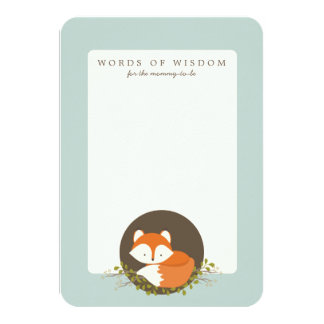 "Sweet Woodland Fox Baby Shower Advice Insert Card 3.5"" X 5"" Invitation Card"