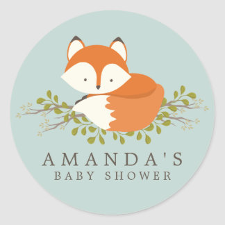 Sweet Woodland Fox Baby Shower Favor Seal Round Sticker