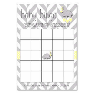 Sweet Yellow and Gray Elephant Baby Shower Bingo Card