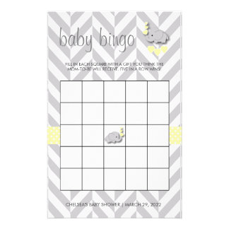Sweet Yellow and Gray Elephant Baby Shower Bingo Stationery