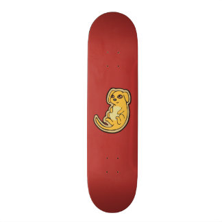 Sweet Yellow And Red Puppy Dog Drawing Design Skateboard