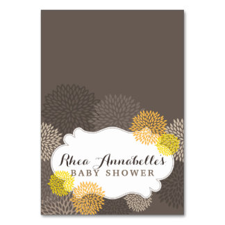 Sweet Yellow Blooms - Yellow Gray Brown Tent Card