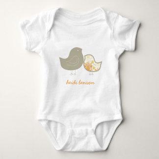 Sweet Yellow Whimsical Cute Damask Chicks T-shirt