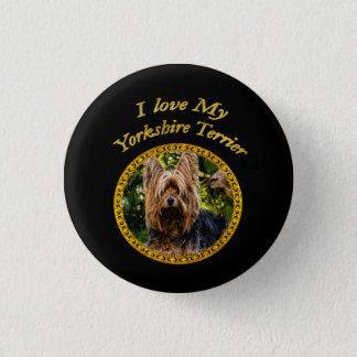 Sweet Yorkshire terrier small dog 1 Inch Round Button