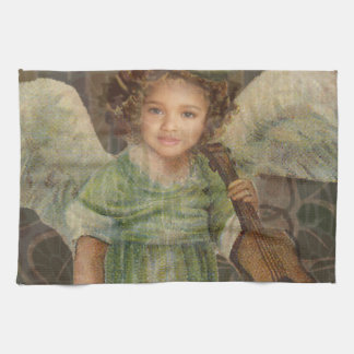 Sweeten - Little Girl Angel Playing a Violin Kitchen Towel