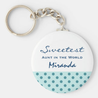 Sweetest AUNT in the World Polka Dot Pattern Z60A Keychain