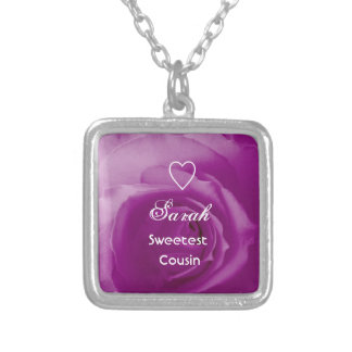 Sweetest Cousin Purple Rose with Heart Gift Silver Plated Necklace