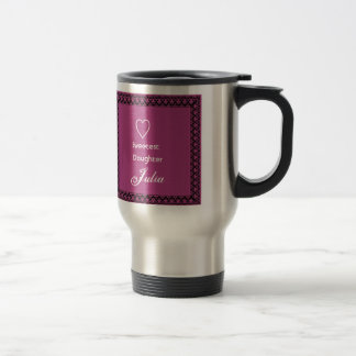 Sweetest Daughter Magenta Pink and Lace Gift Travel Mug