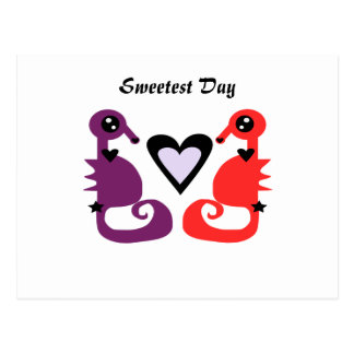 Sweetest Day Seahorses Postcard