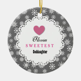 Sweetest Goddaughter Silver White Snowflakes S18Z Round Ceramic Ornament