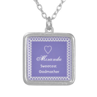 Sweetest Godmother Purple and White Silver Plated Necklace