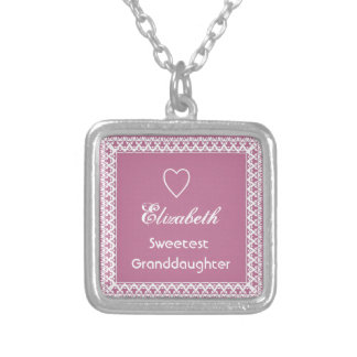 Sweetest Granddaugher Pink and White Lace Gift Silver Plated Necklace