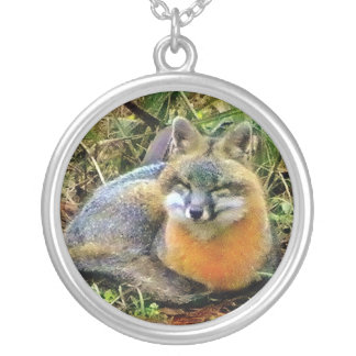 Sweetest Gray Fox Sleeping Silver Plated Necklace