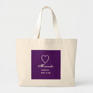Sweetest Wife-To-Be Purple Zebra Print Gift Item Large Tote Bag