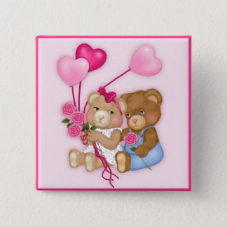 Sweetheart Bears 2 Inch Square Button