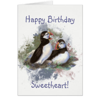 Sweetheart Birthday Watercolor Puffin Couple Card