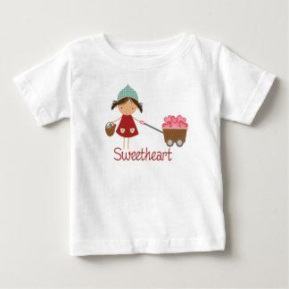 Sweetheart Cute Little Girl Trolley of Hearts Baby T-Shirt