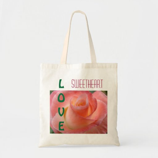 Sweetheart LOVE tote bags gifts Pink Rose Flower