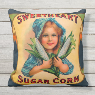 SWEETHEART SUGAR CORN vintage label Throw Cushion