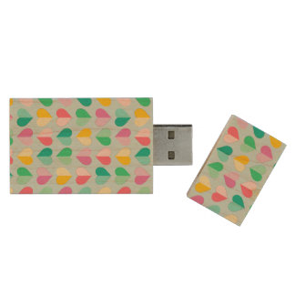 Sweethearts in Multi Pastels on Sky Blue Wood USB 2.0 Flash Drive
