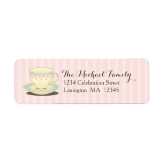 Sweetly Chic Teacup Teabag Party Sticker Return Address Label