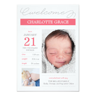 Sweetly Documented Birth Announcements - Pink Invitations