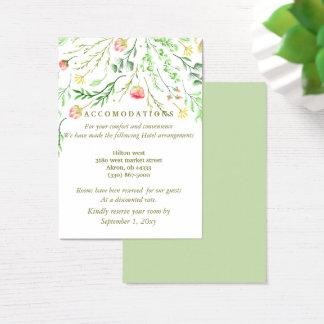 Sweetly Romantic | Floral Wedding Accommodation Business Card