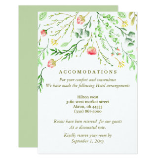 Sweetly Romantic | Floral Wedding Accommodation Card