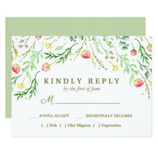 Sweetly Romantic | Floral Wedding Meal Choice RSVP Card