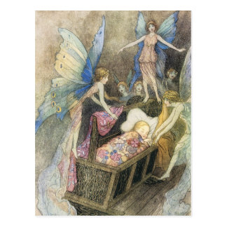 Sweetly Singing Around Thy Bed Print Postcard