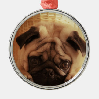 SweetPea Pugs Silver-Colored Round Ornament