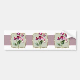 Sweetpea Vintage Flowers Wide Bumper Sticker