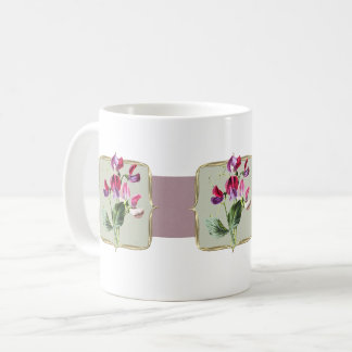 Sweetpea Vintage Flowers Wide Coffee Mug