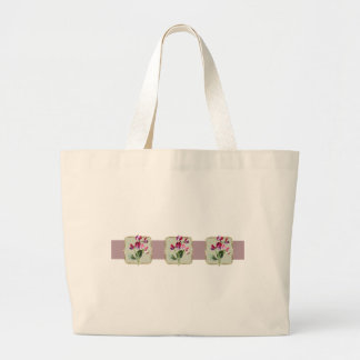Sweetpea Vintage Flowers Wide Large Tote Bag