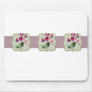 Sweetpea Vintage Flowers Wide Mouse Pad